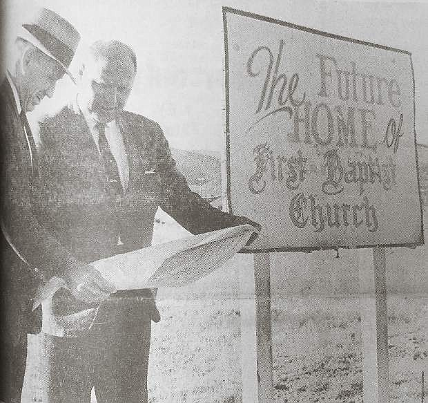 On Nov. 3, 1965, the First Baptist Church of Carson City exploded into ruins. The disaster was blamed on leaking gas from a pipeline. No one was in the building. Pictured the new pastor, Alfred Engelmann, right, looks over plans for a new church with Norman Poteet, chairman of the finance committee at the new site on Mountain Street.