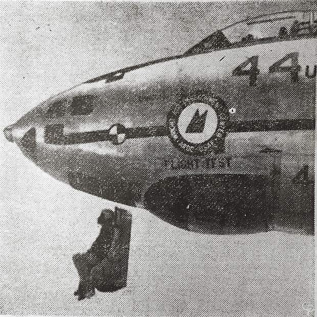 Catapulting out of a bomber at more than 500 miles per hour, Capt. Edward Sperry, USAF, tests a new emergency escape mechanism at Baltimore. A special explosion and timing device separates the jumper from the seat and opens his parachute.