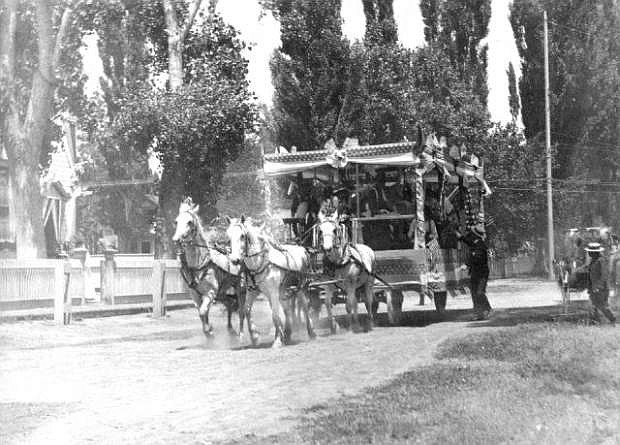 The carriage carrying President Theodore Roosevelt into Carson City. Roosevelt visited Carson on May 19, 1903.