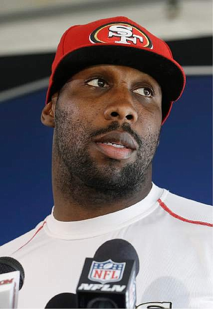 San Francisco 49ers wide receiver Anquan Boldin speaks to reporters at an NFL football training facility in Santa Clara, Calif., Wednesday, Jan. 15, 2014. The 49ers are scheduled to play the Seattle Seahawks for the NFC Championship on Sunday. (AP Photo/Jeff Chiu)