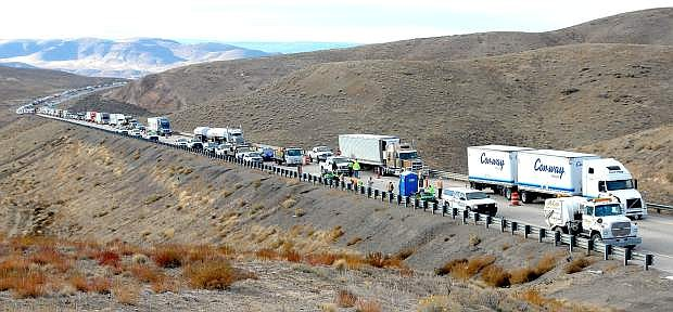 Traffic is backed up on Interstate 80 on Tuesday where a Gardnerville highway construction worker was killed.