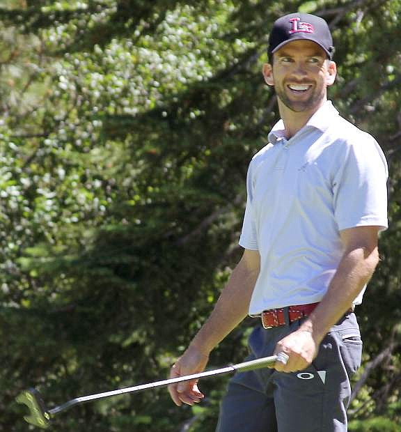 Actor Lucas Black watches a tee shot during Wednesday's action at the American Century Championships at Edgewood Tahoe Golf Course.