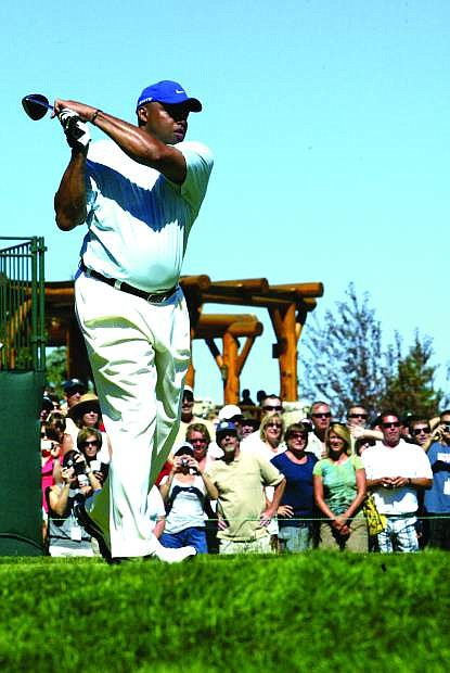 Charles Barkley demonstrates unique swing at a previous American Century Championship golf tournament.