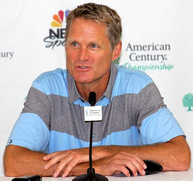 Golden State Warriors head coach Steve Kerr answers questions during a press conference Thursday. Kerr is sitting out the ACC due to a back injury suffered during Game 5 of the NBA Finals.