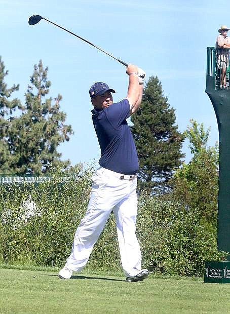 Chad Pfeifer tees off on the first hole during Saturday's second round of last year's American Century Championship at Edgewood Tahoe Golf Course. After finishing fifth in 2014, the retired Army corporal will make a second straight appearance in the tournament.