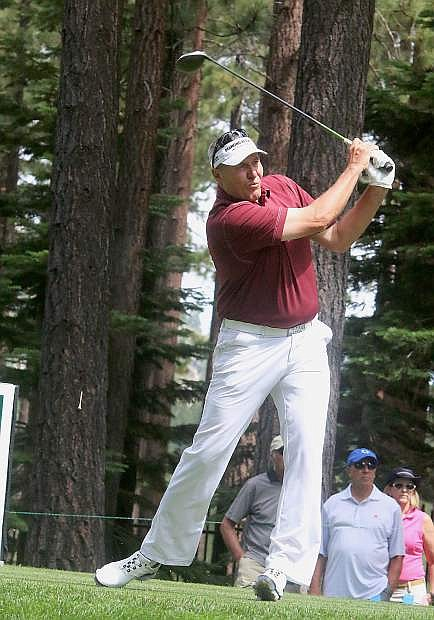 Mark Rypien tees off during the final round of last year's American Century Championship. The 2014 tournament champion will return to Edgewood this season to defend his crown.