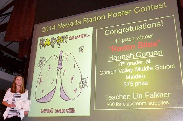 Hannah Corgan, an eighth-grader at Carson Valley Middle School, won first-place honors in the 2014 Nevada Radon Poster Contest.