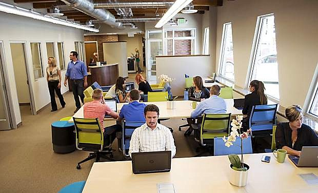 Adam's Hub offers an open work space area as well as offices for its dedicated office clients.