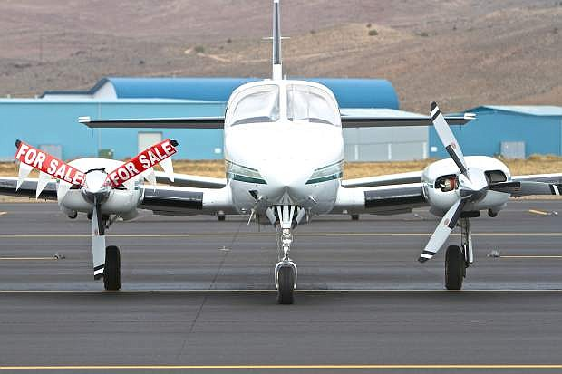 An airplane sits on the tarmac at the Carson City Airport on Wednesday.