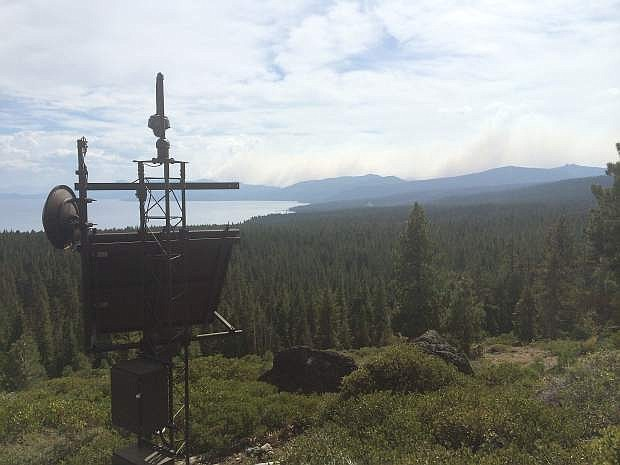 The California Tahoe Conservancy North Shore camera is seen with King Fire in the background in 2014. AlertTahoe Fire Prevention System is found throughout the Tahoe Basin.
