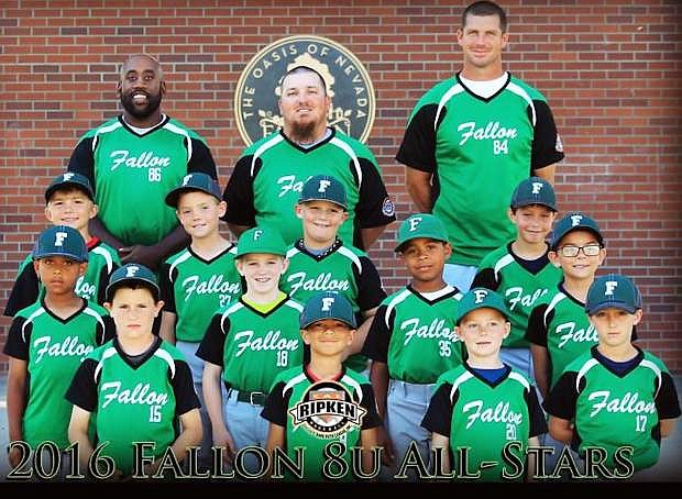 The Fallon 8-under All-Star team includes, front row, from left: Zack Adams, Ayden Lehman, Jackson Storm and Aiden Sweeney. Second row, fromt left: Joseph Robinson, Carson Melendy, Michael Robinson and Ryder Letourneau. Third row, from left: Caleb Edgmon, Wyatt Peek, Ryder McNabb and Raeden Buchanan. Back row, from left: Coaches Michael Robinson, Sean McNabb and Jason Storm.