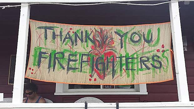 Markleeville residents show their gratitude to firefighters.