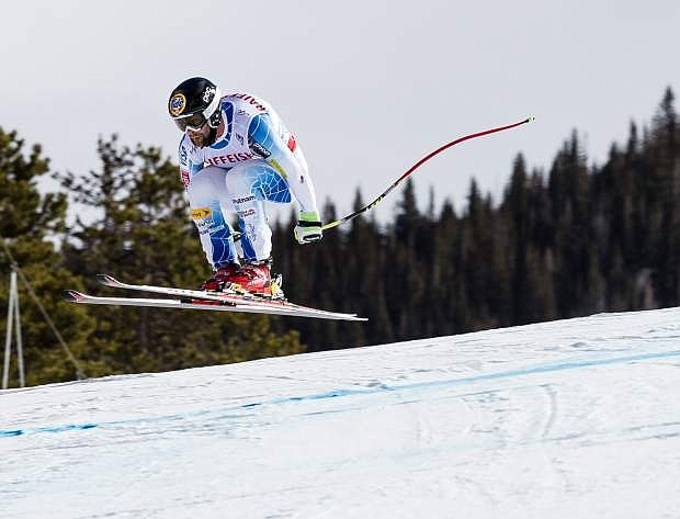 Travis Ganong of Squaw Valley leaves the lip of the Redtail Jump during the men's downhill race of the 2015 FIS Alpine World Ski Championships on Saturday in Beaver Creek. Ganong finished second-fastest of the day with a time of 1 minute 43.42 seconds.