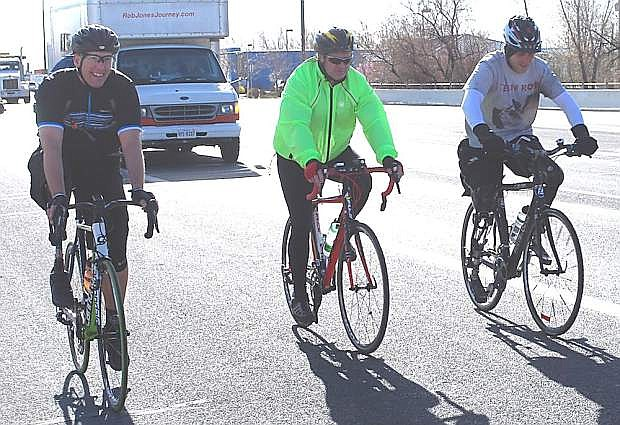 Rob Jones and other cyclist set off from Fallon to Silver Springs in another leg of Jones journey to reach his final destination oft Marine Corps Base Camp Pendleton. From left are Brian Bartltt, Mike Anderson and Jones.