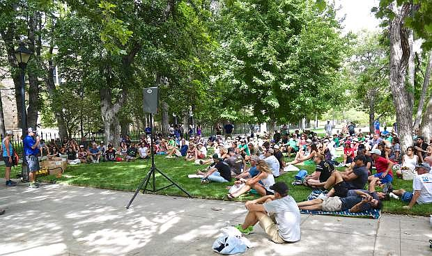Hundreds of participants assemble on the Capitol Mall Friday prior to today's start of the Tahoe Rim Trail Endurance Run. Runners will be competing in 100 mile, 50 mile or 55k events this weekend starting at Spooner Lake.