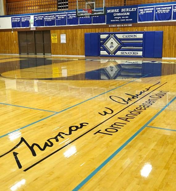 The Carson High School basketball court was dedicated to Tom Andreasen.