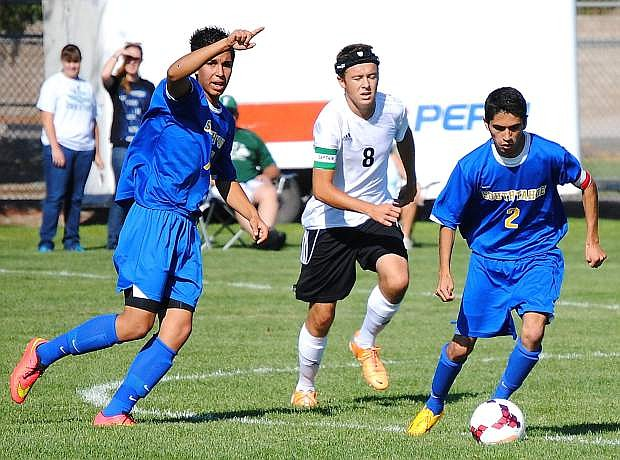 South Tahoe's Diego Garcia (right) takes control of the ball in front of Fallon's Corbin Waite.