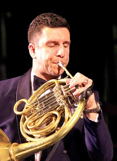 French horn soloist Technical Sgt. David Balandrin plays Wednesday night with the US Air Force Band in Carson City.