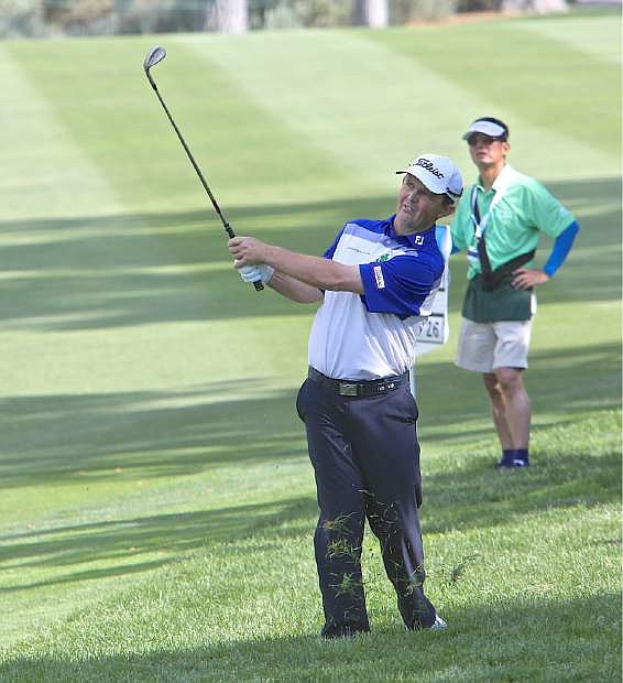 Greg Chalmers had a rough 8th hole but recovered to stay in the lead Saturday at the Barracuda Championship at Montreux.