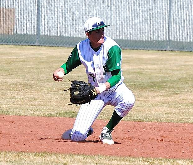 Fallon shortstop Sage Orozco flips the ball to second base during a game last week against Truckee. The Wave host Spring Creek today and Saturday in a three-game series.