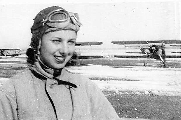 WASP air cadet Hazel Hohn is pictured in her flight gear at Avenger Field, Sweetwater Texas, during the winter of 1943-44.