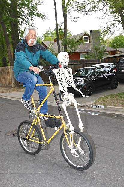 Edward Fruend rides his tall bike at the Westside Cruiser Ride Wednesday evening in Carson City.