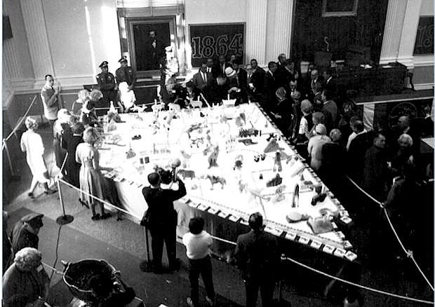 Dignitaries cut the Nevada shaped cake at the centennial cake event held in 1964. The Battle Born Birthday Cake committee will debut their cake on March 21.