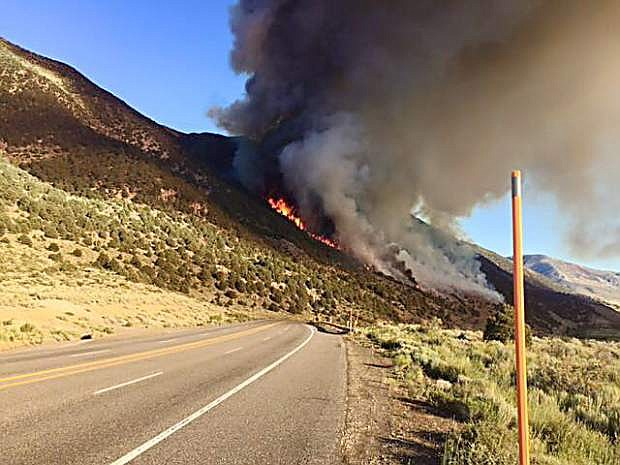A fire burning near Mono Lake has closed HIghway 395.