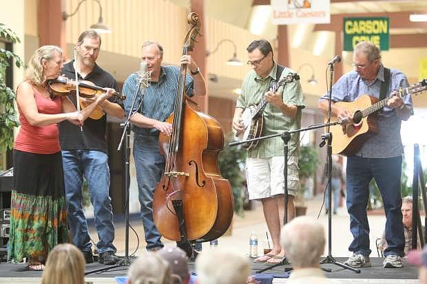 The Back Forty bluegrass band at Carson Mall on Saturday.