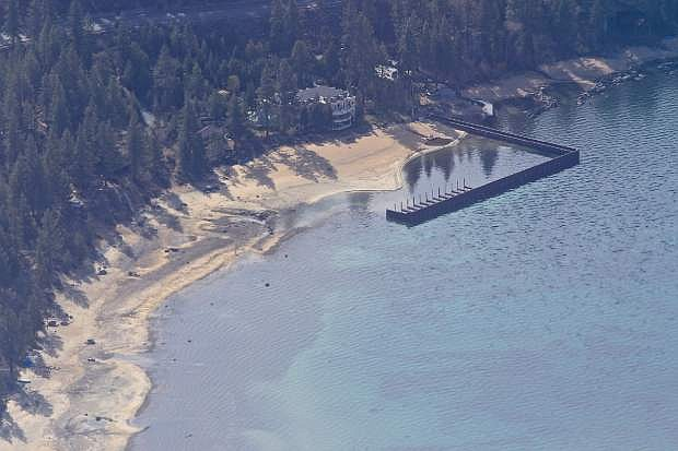 An aerial view at Logan Shoals Vista Point near Glenbrook on Lake Tahoe's east shore on Thursday, April 9, shows shallow waters.