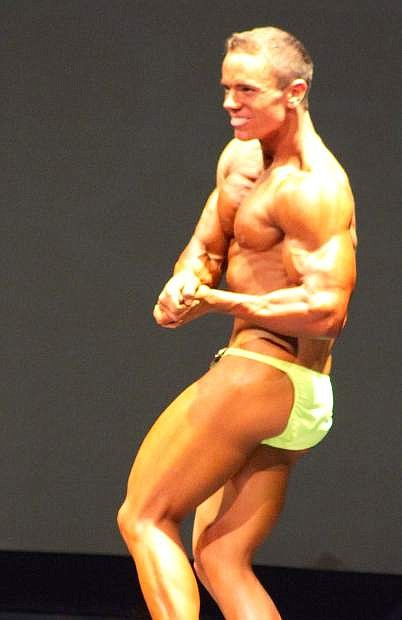 Fallon native Thaaron Kalt competes in the Tahoe Show, a bodybuilding competition, about three weeks ago in South Lake Tahoe. Kalt won the novice lightweight division.