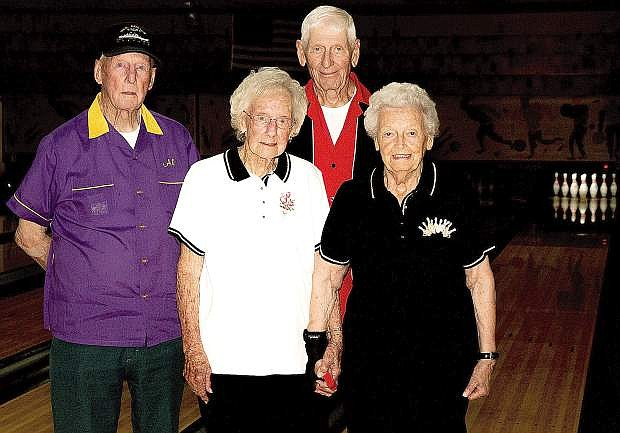 Seniors from left Al Shields, Betty Fudge, R.L. Johnson and Lu Demers continue to bowl every week at Oasis Bowl.