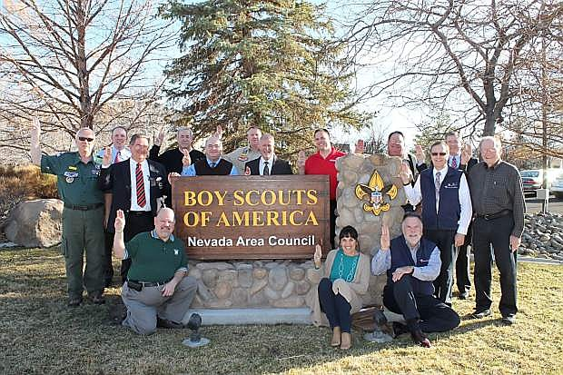 Show from the left are some members of the Nevada Area Council of the Boy Scouts, Jim Stewart, Sandy Rogers and Jim Rogers in the front row; Ron Thornton, Jeff Whitaker, Thierry Barkley, Gene Harrison, John Brownell, Keith Ashby and Austin Stedham in the middle row; and Wade Christiansen, Dennis Lally, Bill Newberg, Bruce Davie, Rod Sanford in the back row.