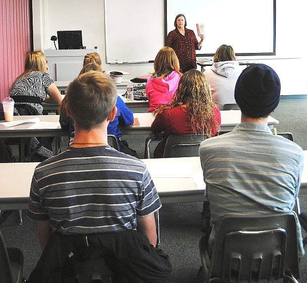 Churchill County High School students attended their first day of class at Western Nevada College for the jump start to college program. Professor Laurel Topken welcomed her English 102 class and instructed them on what books they would be using during the semester.
