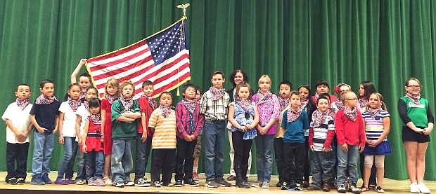 At the school board's Thursday night meeting students from Kieran Kalt's thrid-grade class and Tina Koenig music class performed a tribute honoring Veterans Day for the trustees and audience.