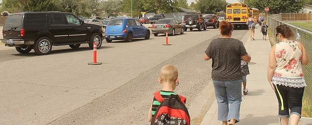 After Monday afternoon's bus hiccup school officials have reconfigured Lahontan Elementary School's traffic pattern.