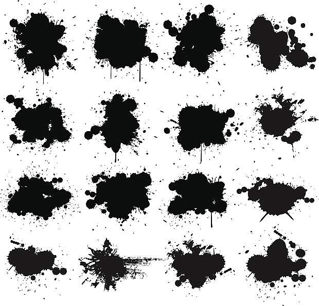 Black ink paint splat