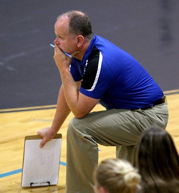 Head volleyball coach Robert Maw watches his team play a match against Reno on Tuesday.