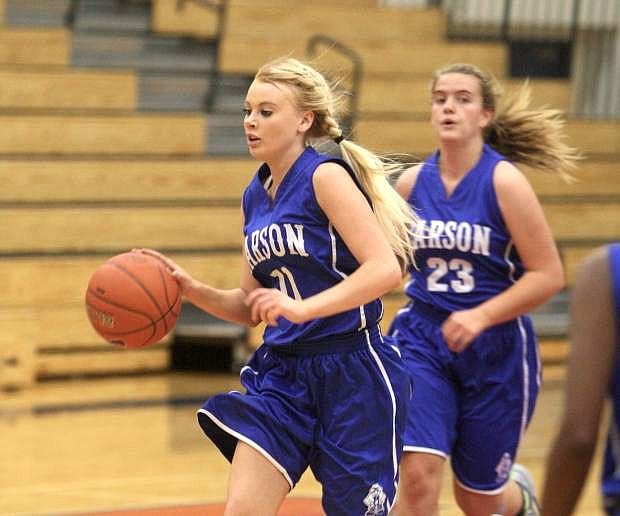 Kayla Aikins drives the ball up the court against Reno on Tuesday night.