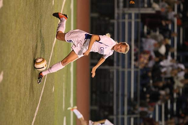 Lindy Lehman takes control of the ball in a game against Douglas on Tuesday night.