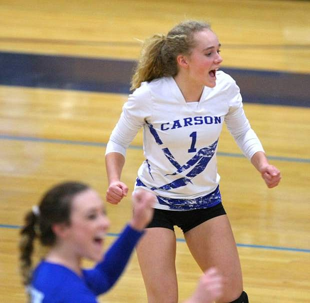 Abby Pradere celebrates a point with her teammates in a playoff match against Reno on Tuesday.