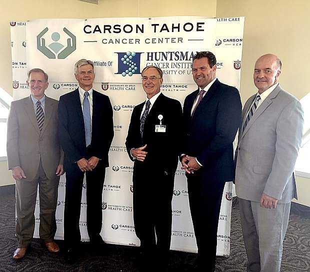 Tad Morley, Executive Director of Outreach, University of Utah, Dr. John Sweetenham, Medical Director of Huntsman Cancer Institute, Ed Epperson, CEO of Carson Tahoe Health, Mark Saxton, Outreach Manager, University of Utah, Ben Tanner, COO of Huntsman Cancer Institute.