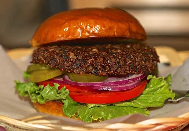 A quinoa veggie burger is on the menu at Cafe Del Rio in Virginia City.