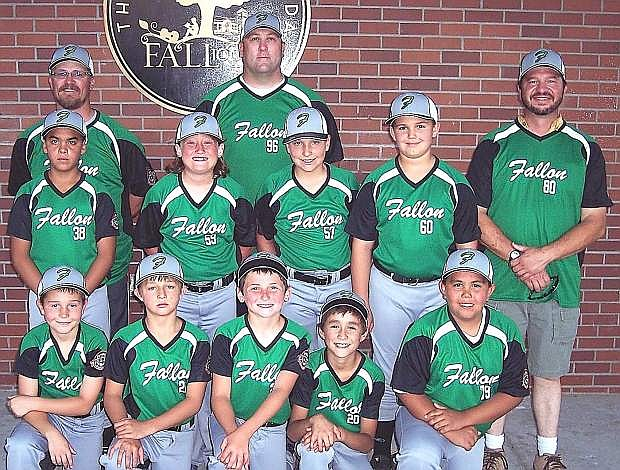 The Fallon 10-under all-star team from back row from left are manager Glenn Lee, coach Mike Davis and coach Ray Cooper. Middle row from left are Lito Ilumin, Neil Marran, Zane Bogdanowicz and Bradley Omdahl. Front row from left are Hunter Cooper, Nicholas Behimer, Matthew Davis, Brian Sanchez-Rehkop and Zane Johnston. Not pictured: Shaw Lee, Emily Marshall, Nick Marshall and Colby Malkovich.