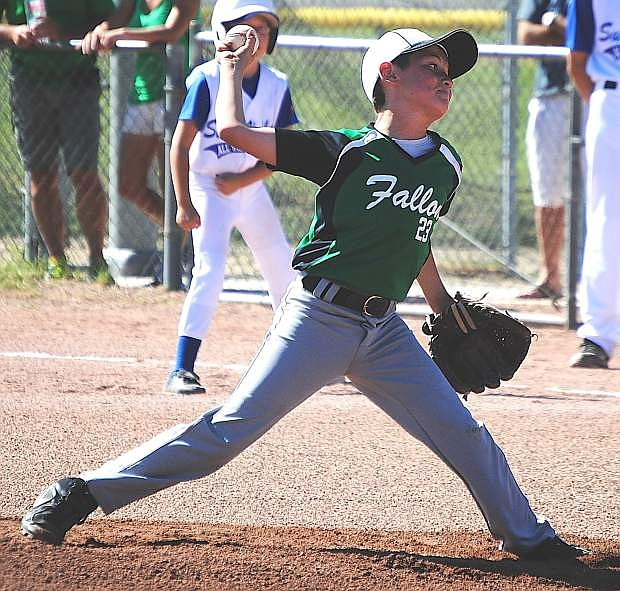 Fallon all-star pitcher Matt Davis delivers the ball during the 10-and-under Cal Ripken state tournament on Sunday at the Churchill County Regional Fields. Fallon beat Spanish Springs, 2-1, to win the state title.