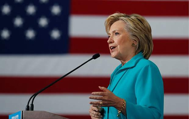 Democratic presidential candidate Hillary Clinton speaks at a campaign event at Truckee Meadows Community College, in Reno on Thursday.