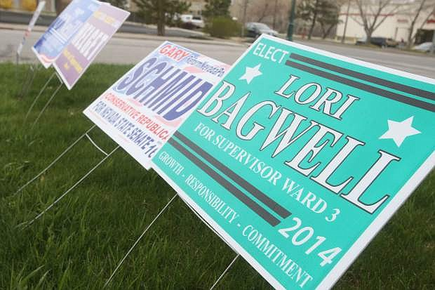 Candidate signs in front of Carson City Republican Headquarters on Saturday morning.
