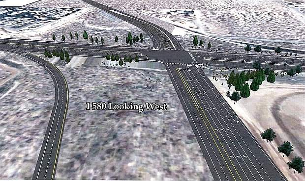 A rendering of the completed I580 bypass looking west.