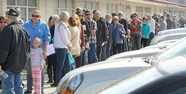 Several hundred people attended the Democratic Caucus at the Carson Valley Middle School on Saturday.
