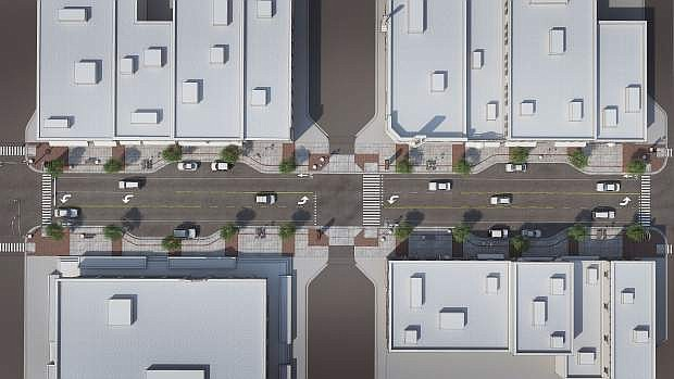 Designs for downtown Carson Street changes to widen sidewalks and move to three vehicle traffic lanes, with one for turning, are set for public review today.